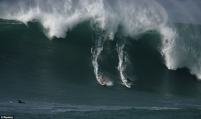 Surf's up as biggest waves